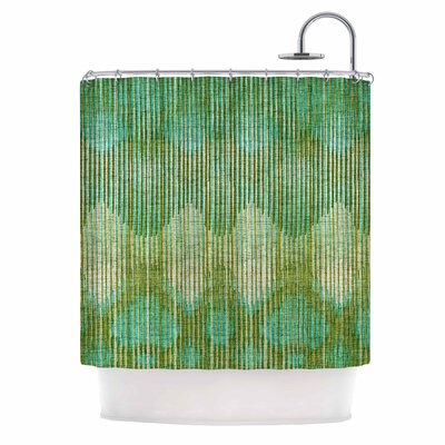 Vintage Ikat Shower Curtain Color: Green/Gold