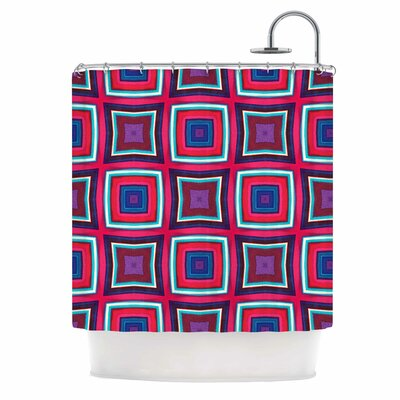 Watercolor Blocks Checker Shower Curtain