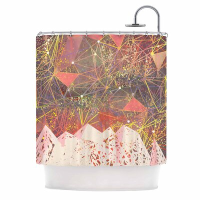 Pink Space Mountain Mixed Media Shower Curtain
