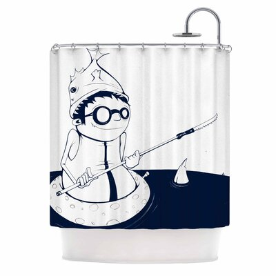 5; In Navy Blue Nautical llustration Shower Curtain