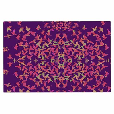 Flying Birds Doormat Color: Sunrise Purple
