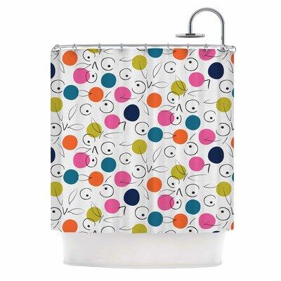 Colorful Polka Berries Digital Shower Curtain