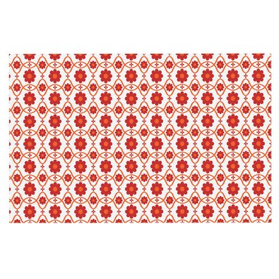 Floral Doormat Color: Red/Crimson
