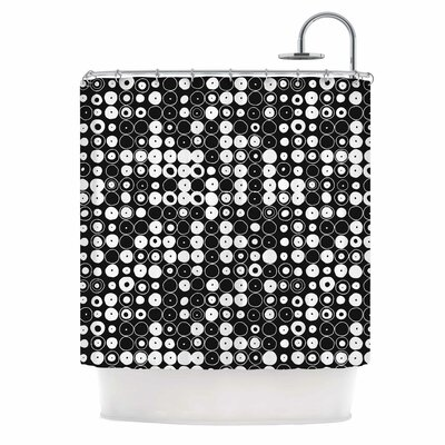White & Black Funny Polka Dots Shower Curtain