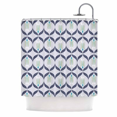 Cool Blue Reminiscence Digital Shower Curtain