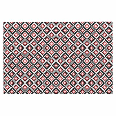 Bright Squares Doormat Color: Coral/Black