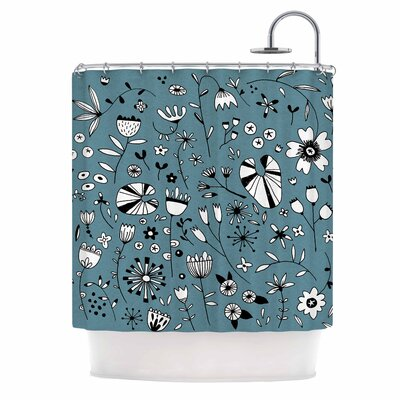 Etched Flowers Shower Curtain