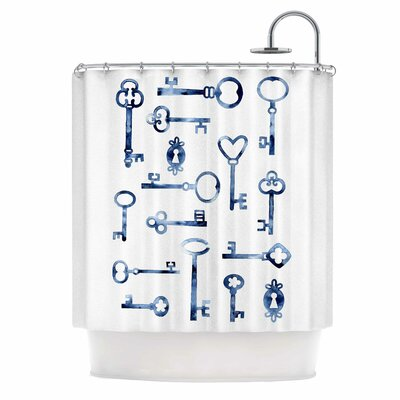 Indigo Keys Illustration Shower Curtain