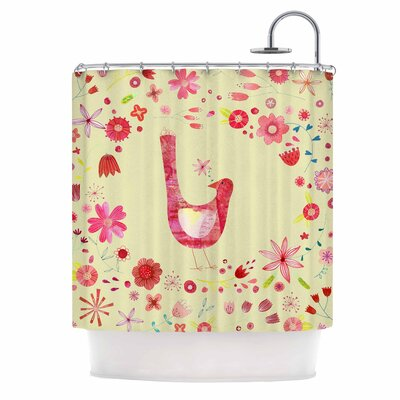 Bird in a Circle of Flowers Shower Curtain