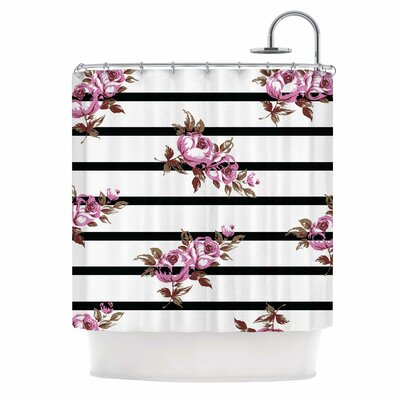 Purple Floral Stripes Shower Curtain