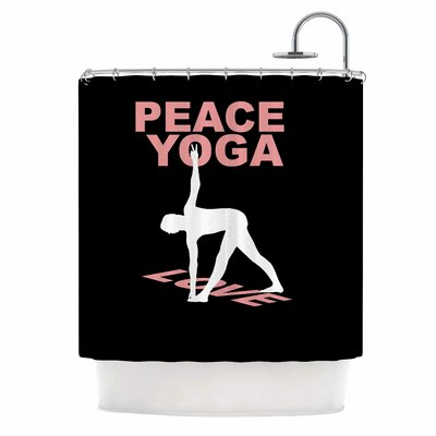 Peace Yoga Love Illustration Shower Curtain