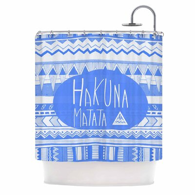 Hakuna Matata Azure Blue Illustration Shower Curtain
