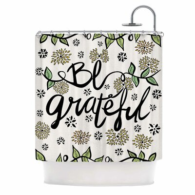 Be Grateful Nature Typography Shower Curtain