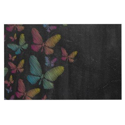 Butterflies Chalk Decorative Doormat Color: Black/Aqua/Pink