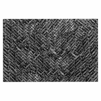 Charcoal Gray Bamboo Weave Doormat