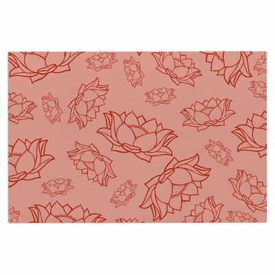 Lotus Pattern Doormat Color: Red/Coral