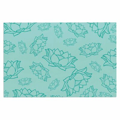 Lotus Pattern Doormat Color: Teal