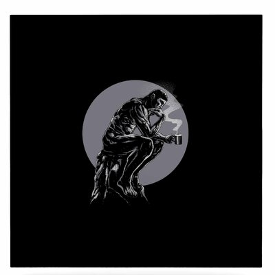 Digital The Thinker Coffee Graphic Art Print on Metal