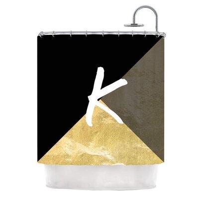 Monogram Foil Shower Curtain Color: Black