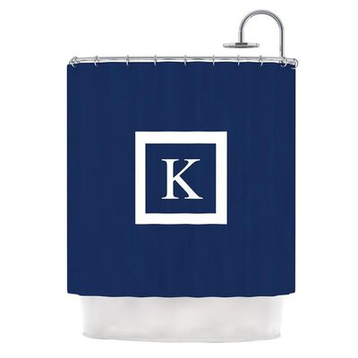 Monogram Solid Shower Curtain Color: Navy