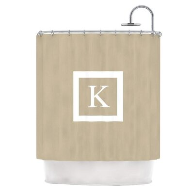 Monogram Solid Shower Curtain Color: Tan