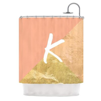 Monogram Foil Shower Curtain Color: Coral