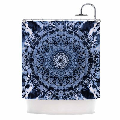 Tie-Dye Mandala Jain Shower Curtain Color: Blue/White