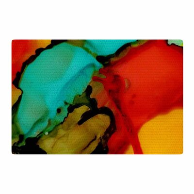 Abstract Anarchy Design Caldera #1 Teal/Red Area Rug Rug Size: 2 x 3
