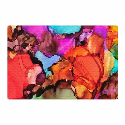 Abstract Anarchy Design Caldera #3 Pink/Teal Area Rug Rug Size: 2 x 3