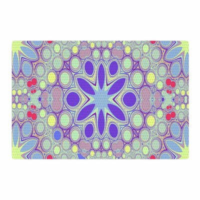 Alison Coxon Hippy Flowers Lavender Kaleidoscope Purple/Yellow Area Rug Rug Size: 2 x 3