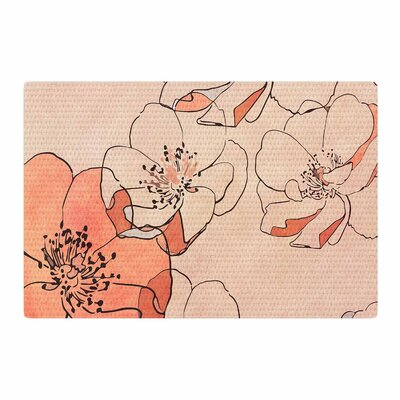 Alison Coxon Painted Wild Roses Floral Coral Area Rug Rug Size: 2 x 3
