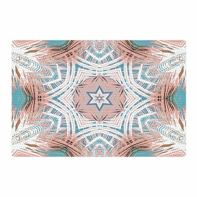 Alison Coxon Tribe Coral and Teal Blue/White Area Rug Rug Size: 4 x 6
