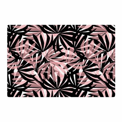 Amy Reber Palms Leaves Pattern Black/Pink Area Rug Rug Size: 2 x 3