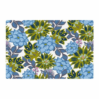 Amy Reber Dahlias Floral Blue/Green Area Rug Rug Size: 4 x 6