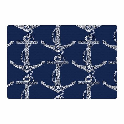 Amy Reber Floral Anchors Pattern Blue Area Rug Rug Size: 4 x 6