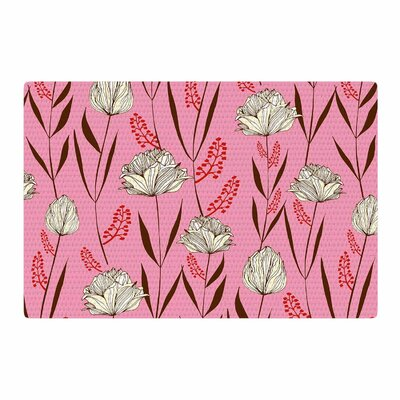 Amy Reber Floral Pattern White/Pink Area Rug Rug Size: 2 x 3