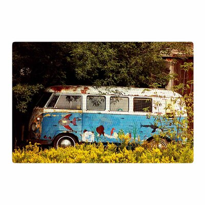 Angie Turner Hippie Bus Blue/Yellow Area Rug Rug Size: 4 x 6