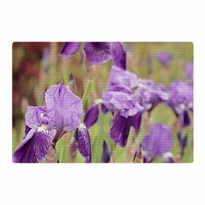 Angie Turner Purple Irises Floral Green Area Rug Rug Size: 2 x 3