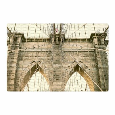 Ann Barnes Brooklyn Bridge Sunset Photography Gold Area Rug Rug Size: 2 x 3