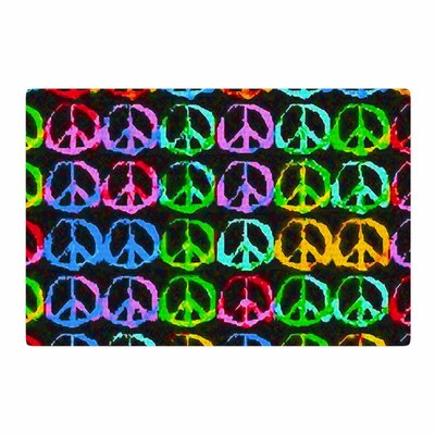 Anne LaBrie Give Peace a Chance Pop Art Green Area Rug Rug Size: 4 x 6
