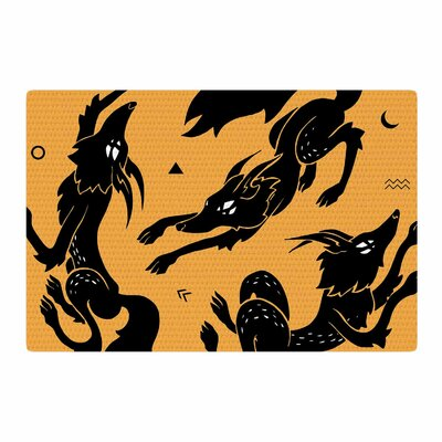Anya Volk Dancing Wolves Abstract Orange Area Rug Rug Size: 2 x 3