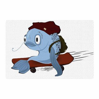 Anya Volk Fish Skateborder Blue/Red Area Rug Rug Size: 4 x 6