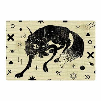 Anya Volk Wolf Illustration Beige Area Rug Rug Size: 4 x 6