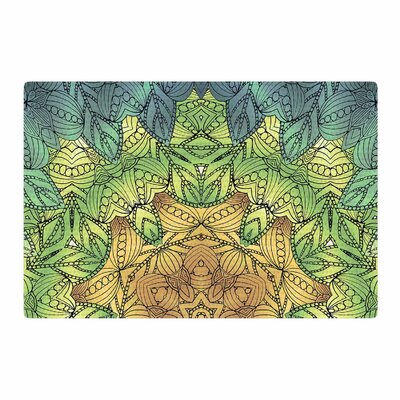 Art Love Passion Celtic Golden Flower Geometric Green/Yellow Area Rug Rug Size: 4 x 6