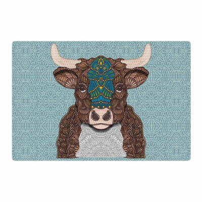 Art Love Passion Bennie  the Bull Teal/Brown Area Rug Rug Size: 4 x 6