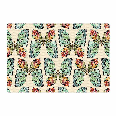 Art Love Passion Butterfly Pattern Green/Red Area Rug Rug Size: 4 x 6