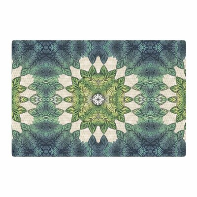 Art Love Passion Forest Leaves Repeat Geometric Green/Teal Area Rug Rug Size: 2 x 3