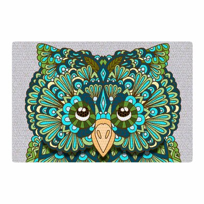 Art Love Passion Great Green Owl Teal/Gray Area Rug Rug Size: 2 x 3