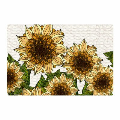 Art Love Passion Sunflower Field Beige/Yellow Area Rug Rug Size: 4 x 6