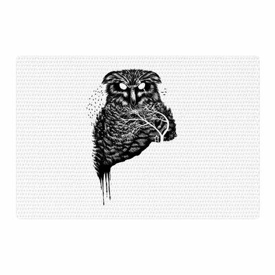 BarmalisiRTB Autumn Owl Black/White Area Rug Rug Size: 2 x 3
